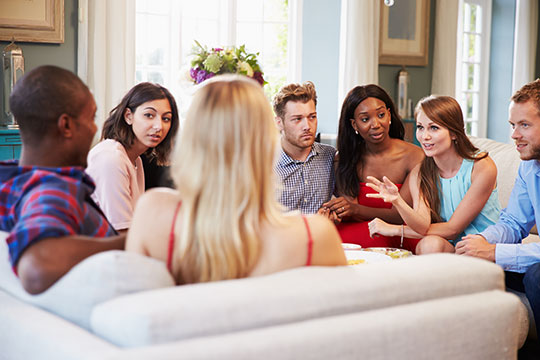 Group Of couple relaxing and talking